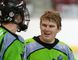 Lloydminster Xtreme goalie Kyle Boyer shares a laugh with team captain Branden Petersen, after an 11-8 victory over the Sherwood Park Titans in Rocky Mountain Junior B Lacrosse League action at the Centennial Civic Centre on Saturday. Playoffs for the Xtreme can start as early as this Friday. Eric Healey/Lloydminster Meridian Booster/Postmedia Network