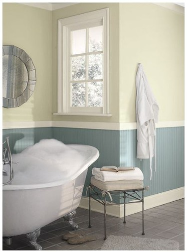 Paint is an easy way to transform your space dramatically and easily. Benjamin Moore's Sea Star with it's grey undertones ensures a tranquil space and the panelling on the lower wall creates a rustic seaside cottage vibe.    Benjamin Moore