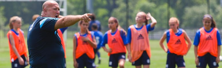 Mark Ridgeway of England instructs at the International soccer camp run by Academy Garrincha in London, Ont. on Monday July 6, 2015. (Mike Hensen/The London Free Press/Postmedia Network)