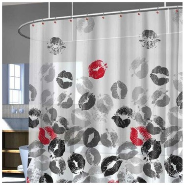 Fun and Flirty, the pops of red shine on this otherwise monochromatic shower curtain featuring plenty of kissing lips.  $5.99  Linen Chest