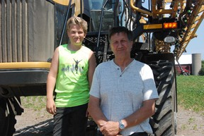 Silas Wellein, 13, and grandfather Lloyd Crowe of Reynolds Farm, pictured Friday, are getting ready to harvest the wheat crops in the next couple of weeks at their Picton farm