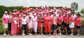 The 64 participants in the tournament join together for a group photo before heading out on the links. (Dave Flaherty/Goderich Signal Star)
