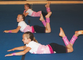 A group from Brazeau Gymnastics Club perform their award winning floor routine at Parents' Night held June 22.