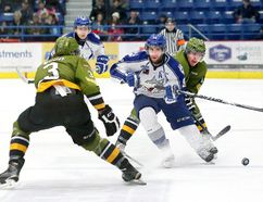 Iroquois Falls native Brody Silk, shown here in an action during an Ontario Hockey League game against the North Bay Battalion at the Sudbury Community Arena on Nov. 21, 2014, will be trading in his Sudbury Wolves uniform for a Brock University jersey this coming fall.
