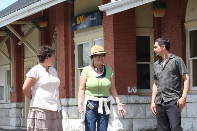 JOHN LAPPA/Sudbury Star file photo Filmmaker Shirley Cheechoo, middle, speaks with actors Micheline Blais (left), of Greater Sudbury, and Matthew Manitowabi on location at the VIA Rail train station in Sudbury in 2012. Cheechoo was shooting at the station for her film, Moose River Crossing, which she wrote and directed.