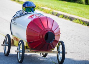 Dominic Bryans zips down the track in a Home Hardware soapbox racer on Saturday July 18, 2015 in Bloomfield, Ont. The annual Soapbox Derby has been a County fixture for the last 20 years. Tim Miller/Belleville Intelligencer/Postmedia Network