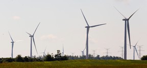 Wind turbines from the Huron BlueWater wind turbine farm south of Bayfield. (Mike Hensen/Postmedia Network)