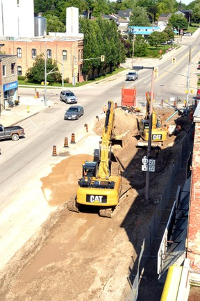 A shot of the downtown streetscape construction from the roof of the Hicks House in Mitchell shows a more complete picture of the work contractors are in the process of completing. GALEN SIMMONS/MITCHELL ADVOCATE