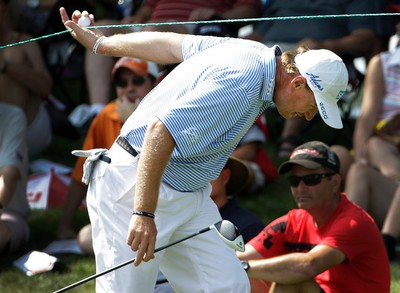 Ernie Els not happy with his play on the 9th hole during second round action at the RBC Canadian Open at Glen Abbey Golf Course on Friday July 24, 2015. Craig Robertson/Toronto Sun/Postmedia Network