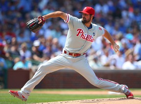 Philadelphia Phillies starting pitcher Cole Hamels threw a no-hitter against the Chicago Cubs at Wrigley Field on Saturday. (Caylor Arnold-USA TODAY Sports)