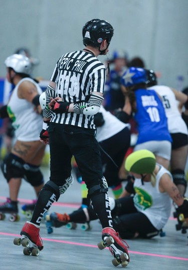 Referees with interesting names as the DRRD'Y Farmers take on Our Ladies of Pain in Durham Region Roller Derby on Saturday July 25, 2015.Veronica Henri/Toronto Sun/Postmedia Network