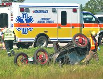 Central Plains RCMP was called out to the scene of an accident between a tractor trailer and a 1926 Ford Model T around 4 p.m., July 25. Police report the semi rear ended the Model T as it was making its way down Highway 1 in the eastbound lane near PTH 242. The 70-year-old driver of the Ford was taken to Winnipeg by STARS Ambulance and is in serious, but stable condition. The Ontario driver of the semi was unhurt. Police are still investigating the incident. (Matt Hermiz/The Graphic/Postmedia Network)