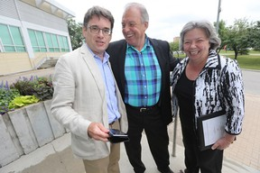 From the left, City Coun. Brian Mayes, MLA Ron Lemieux, and MP Joyce Bateman attend a 2017 Canada Summer Games media event at the Pan Am Pool in Winnipeg Tuesday, July 28, 2015.