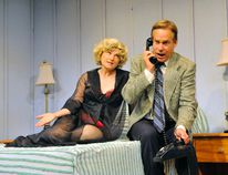 Helen Taylor (as Doris), and Stephen Sparks (as George) perform a scene from Lighthouse Festival Theatre's latest production, Same Time, Next Year. (JACOB ROBINSON Simcoe Reformer)