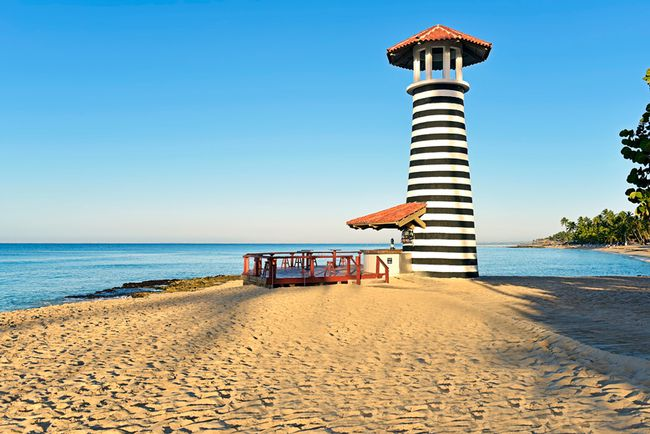 The Iberostar Hacienda Dominicus in Bayahibe, Dominican Republic, has a beautiful beach setting with lighthouse bar. PHOTO COURTESY IBEROSTAR
