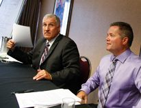Police Chief Murray Rodd and Deputy Chief Tim Farquharson respond to questions from reporters regarding the recent arbitration decision on Wednesday July 29, 2015 at the Holiday Inn on George St. in Peterborough, Ont. Clifford Skarstedt/Peterborough Examiner/Postmedia Network