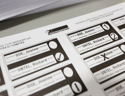 A sample ballot is pictured during a media tour at the Elections Canada warehouse in Ottawa November 20, 2014. The next federal election is scheduled for October 19, 2015. REUTERS/Chris Wattie