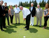 PGA TOUR Canada announced that the Thames Valley ChildrenÕs Centre (TVCC) will serve as the official charitable beneficiary of the Freedom 55 Financial Championship, On hand at the announcement was Justin Wismer, Highland Country Club, Adam Helmer, tournament director of Golf Canada, Christine Dengel, Golf Canada Regional Director, Leo Larizza, General Manager of Highland Golf Club, Mike Silver, director of golf at Highland Golf Cllub, Ray Bradley, of Highland Golf Course, and Cheryl Finn, director of sport tourism for Tourism London, l-r. Putting is Mike Cunneen, senior VP Freedom 55 Financial. (MORRIS LAMONT, The London Free Press)