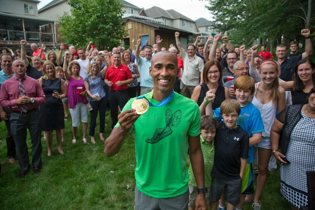 Pan American Games decathlon gold medallist Damian Warner was feted by friends and supporters at the home of Jeffery Fischer in London. (DEREK RUTTAN, The London Free Press)