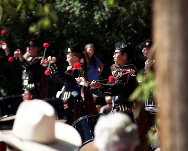 A drummer marches along with the rest of his band during the 2015 Big Valley Jamboree kick off parade July 30.  AMIELLE CHRISTOPHERSON/CAMROSE CANADIAN/POSTMEDIA NETWORK