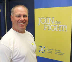 Doug Kane is the manager of the Canadian Cancer Society's Frontenac, Lennox and Addington community office in Kingston, Ont. on Thurs., July 30, 2015. The society is again holding its Fearless Challenge, where people can raise money for cancer research by confronting their worst fears. Michael Lea/The Whig-Standard/Postmedia Network