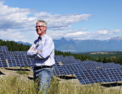 Kimberley Mayor Don McCormick stands in front of the SunMine. Photo Submitted