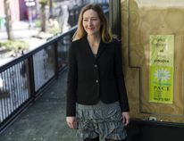 Laura Dilley, PACE Society executive director, stands outside Downtown Eastside office. File photo