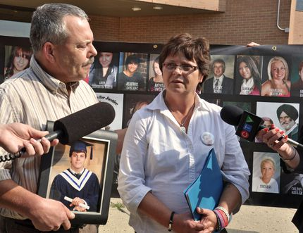 Rob and Sheri Arsenault addressed the media on Aug. 28, 2014 after Jonathan Pratt received an eight-year sentence for manslaughter and impaired driving causing death in a collision that killed their 18-year-old son Bradley, along with Kole Novak and Thaddeus Lake. File Photo