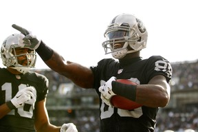 Wide receiver James Jones, right, seen here with the Oakland Raiders last season, has signed on with the New York Giants. (Cary Edmondson-USA TODAY Sports)