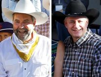 A combination picture shows (L-R) New Democratic Party (NDP) leader Thomas Mulcair, Prime Minister Stephen Harper and Liberal leader Justin Trudeau attending the Calgary Stampede in Calgary, Alta., on July 3, 2015. (REUTERS/Todd Korol)