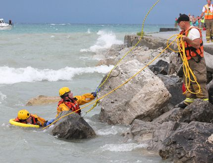 A person drowned in the waves off Kincardine's pier shortly before 3 p.m. on Aug. 2, 2015, but little more information was available before long weekend press time. Municipality of Kincardine Fire Department search and rescue workers had to retreat from the water at about 3:30 p.m. to wait out the massive electrical and wind storm tha
