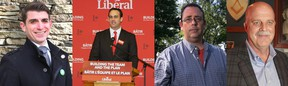 Candidates hoping to represent Kingston and the Islands from left; Green Party's Nathan Townend, Liberal Mark Gerretsen, NDP Daniel Beals, and Conservative Andy Brooke. (Photos via the Nathan Townend website, and the Whig-Standard archives)