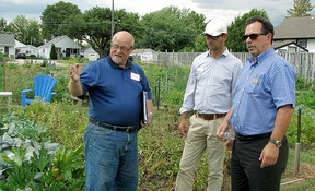 Derwyn Armstrong, co-ordinator of Chatham-Kent's community gardens, left, guides Communities in Bloom judges Alain Capelle and Richard Daigneault through the CLAC community garden in Chatham on Friday, July 31, 2015. Blair Andrews/Postmedia