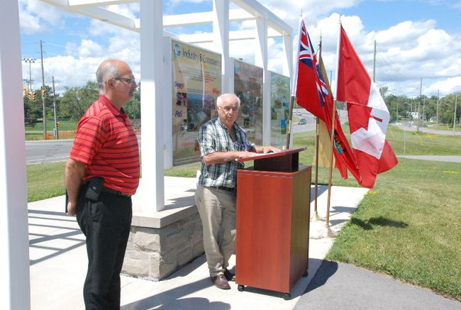 JESSICA LAWS/FOR THE INTELLIGENCER MPP Lou Rinaldi and Mayor Taso Christopher re-announced the funding commitment through the Small Communities Funding on August 4.  Both the provincial and federal governments have guaranteed a total $6.5 million for the Dundas Street project in Belleville.