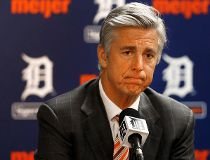 In this Oct. 14, 2014, file photo, Detroit Tigers general manager Dave Dombrowski speaks to the media during a baseball news conference in Detroit. (AP Photo/Paul Sancya, File)