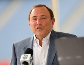 NHL Commissioner Gary Bettman speaks during a press conference for the Winter Classic at Gillette Stadium in Foxboro, Mass., on July 29, 2015. (Bob DeChiara/USA TODAY Sports)