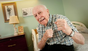 Cliff McWhirter, putting  up his dukes in his room at Extendicare London nursing home London in 2013, is seen at right in 1932, the year he won the Golden Gloves crown in a bout in Cincinnati. (CRAIG GLOVER, The London Free Press)