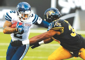 Argos' Chad Owens injured his ankle in Monday's game against the Ticats. (Dave Abel/Toronto Sun)