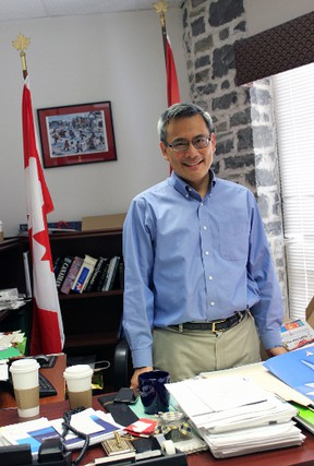 Though Kingston and the Island MP Ted Hsu is not running for re-election, his office and desk remain filled with papers and research. (Steph Crosier/The Whig-Standard)