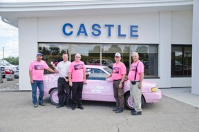 Service groups and local businesses banded together to create a pink car. They are selling tickets to smash the vehicle to raise money for the Wild Pink Yonder. Shown: Darrin Leffingwell from Fix Auto, Pete Schauerte from Castle Ford, Charlie Price from the Elks, George Wolstenholme from Castle Ford, and Ken Neumann from the Elks. John Stoesser photos/Pincher Creek Echo.