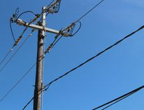 A hydro pole and wires