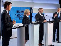 The party leaders during the debate.