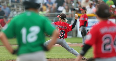 Friday, Aug. 7, 2015 Ottawa --  Glace Bay McDonald's Colonels Tye Clarke throws a pitch against the East Nepean Eagles during the first day of the Canadian Little League Championship at Ken Ross Park on Friday, Aug. 7 2015 (Chris Hofley/Ottawa Sun)