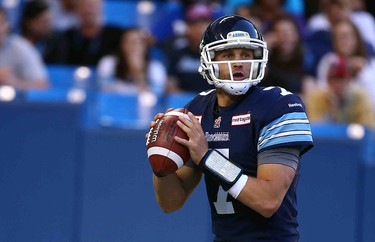 Trevor Harris of the Toronto Argos throws the ball against the Saskatchewan Roughriders during CFL action at the Rogers Centre in Toronto, Ont. on Saturday August 8, 2015. Dave Abel/Toronto Sun/Postmedia Network