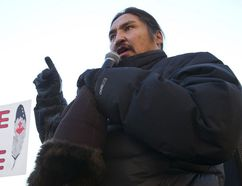 Chief Allan Adam of the Athabasca Chipewyan First Nation speaks as Idle No More demonstrators listened in front of Canada Place in Edmonton Alta., on Friday Jan. 11, 2013 as a part of nation-wide protests. Police say that approximately 600 people attended the march. Ian Kucerak/Edmonton Sun/QMI Agency