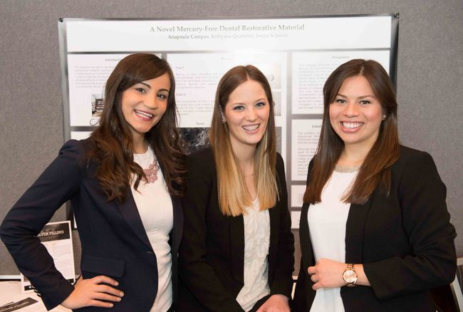 Jenna Schmitt of Walkerton (centre) is one of three University of Saskatchewan dentistry graduates who helped create a novel mercury-free dental material. The research was done with classmates Anapaula Campos and Kellyana Quattrini.
