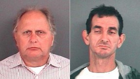 These booking photos provided by the Indiana State Police show Richard Fledderman, left, the three-term mayor of Batesville, Ind. who has been charged with patronizing a male prostitute, and Randy Wigle-Stevens, right, who is accused of failing to disclose his HIV status and attempting to blackmail Batesville, Indiana Mayor Richard Fledderman. (AP Photos/Indiana State Police)