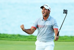 Jason Day of Australia reacts to a birdie on the 17th green during the third round of the 2015 PGA Championship at Whistling Straits at on August 15, 2015 in Sheboygan, Wisconsin. (Andrew Redington/Getty Images/AFP)