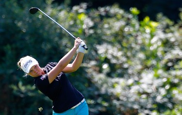 PORTLAND, OR - AUGUST 16: Brooke Henderson of Canada hits on the 7th hole during the final round of the LPGA Cambia Portland Classic at Columbia Edgewater Country Club on August 16, 2015 in Portland, Oregon.   Jonathan Ferrey/Getty Images/AFP == FOR NEWSPAPERS, INTERNET, TELCOS & TELEVISION USE ONLY ==