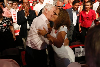 Former Liberal politician Bob Rae hugs Liberal candidate Chrystia Freeland at a Liberal rally for  federal Liberal leader Justin Trudeau at the Daniels Spectrum in Regent Park on Monday August 17, 2015. Jack Boland/Toronto Sun/Postmedia Network